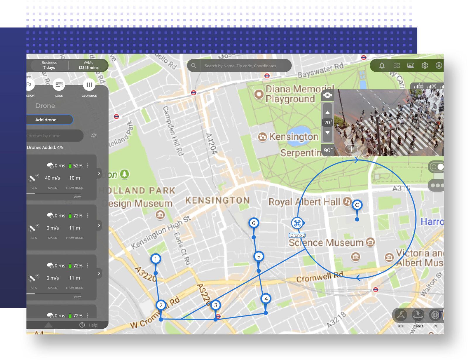 Police drone flight path